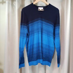 ERDOS Multi-Blues Knit V Neck Soft Men's Sweater